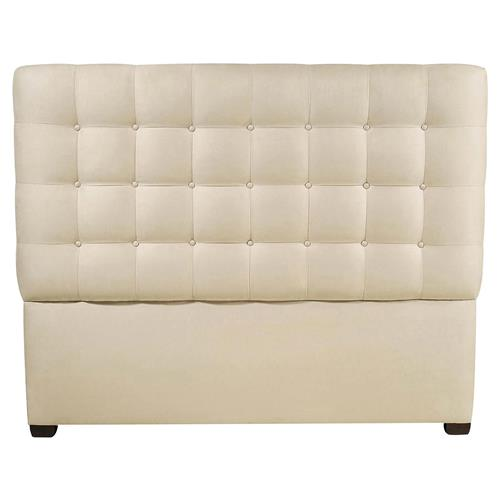 Nimbus Classic Button Tuft Cream Upholstered Queen Headboard | Kathy Kuo Home