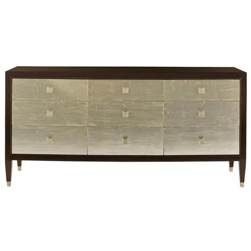 Cliquot Modern Ebony Champagne Nine Drawer Dresser | Kathy Kuo Home