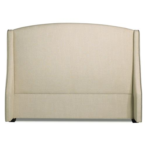 Creme Modern Classic Beige Upholstered Nailhead Trim Headboard - Queen | Kathy Kuo Home