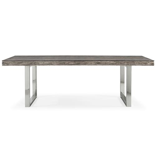 Travers Lodge Stainless Steel Rustic Wood Glass Top Dining Table - 84W | Kathy Kuo Home