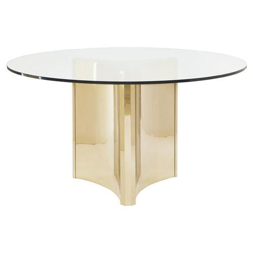 Ellen Modern Sleek Gold Round Glass Top, 60 Inch Round Glass Top Dining Table Sets