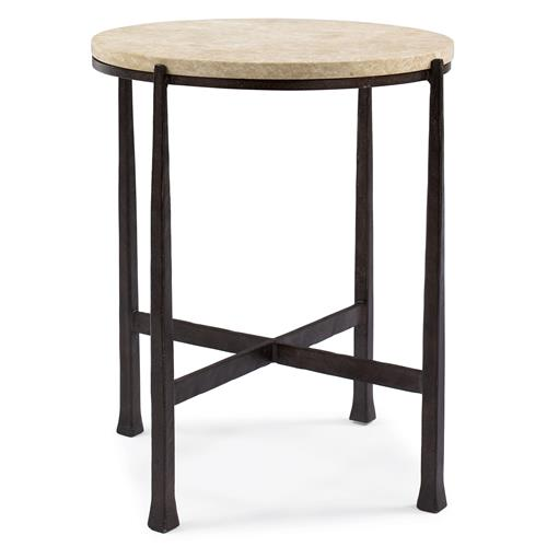 Norfolk Industrial Loft Round Metal Stone Patio End Table | Kathy Kuo Home