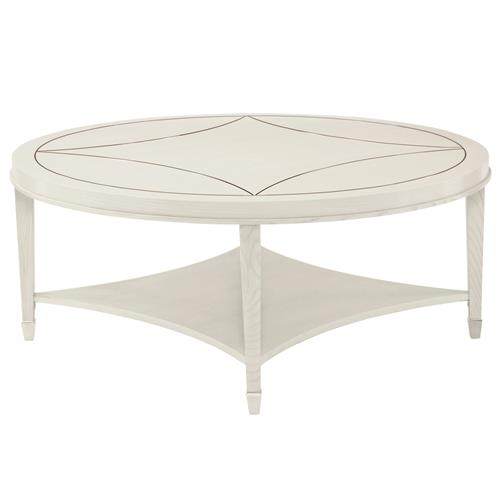 Gretta Polished Ivory Hollywood Regency Inlay Round Coffee Table | Kathy Kuo Home