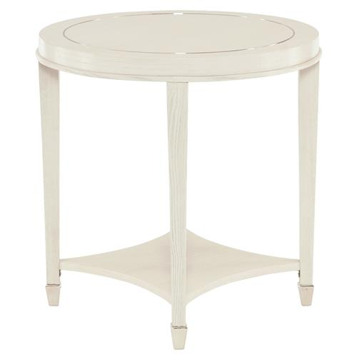 Gretta Polished Ivory Hollywood Regency Inlay Round Side Table | Kathy Kuo Home