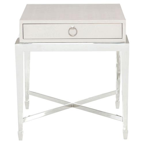 Gretta Ivory Leather Regency Nickel End Table | Kathy Kuo Home