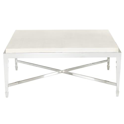 Gretta Ivory Leather Hollywood Regency Nickel Coffee Table | Kathy Kuo Home
