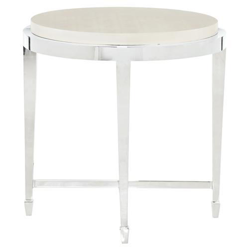 Gretta Ivory Leather Hollywood Regency Round Nickel End Table | Kathy Kuo Home