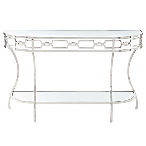 Gretta Radiant Hollywood Regency Polished Nickel Console Table | Kathy Kuo Home