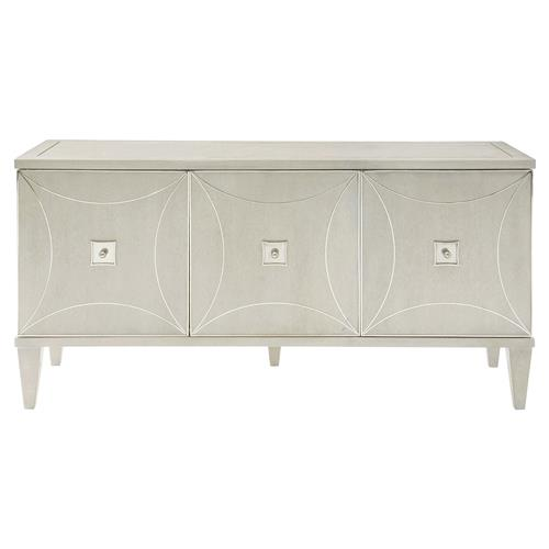 Gretta Deco Hollywood Regency Polished Ash Grey Media Console | Kathy Kuo Home