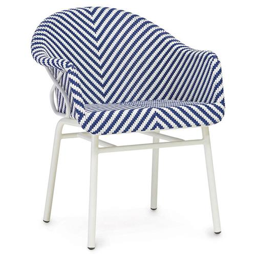 Palecek Abigail Coastal Beach Blue White Woven Occasional Chair | Kathy Kuo Home