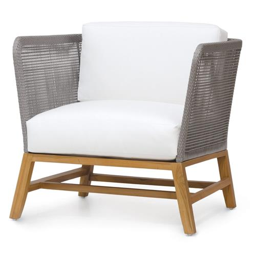 Palecek Avila Modern Grey Rope Woven Teak Outdoor Lounge Chair - Salt | Kathy Kuo Home