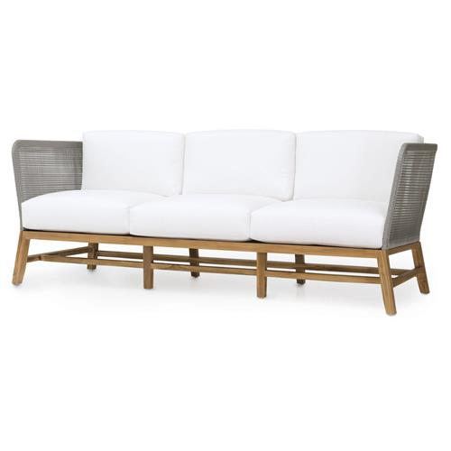 Palecek Avila Modern Grey Rope Woven Teak Outdoor Sofa - Salt | Kathy Kuo Home