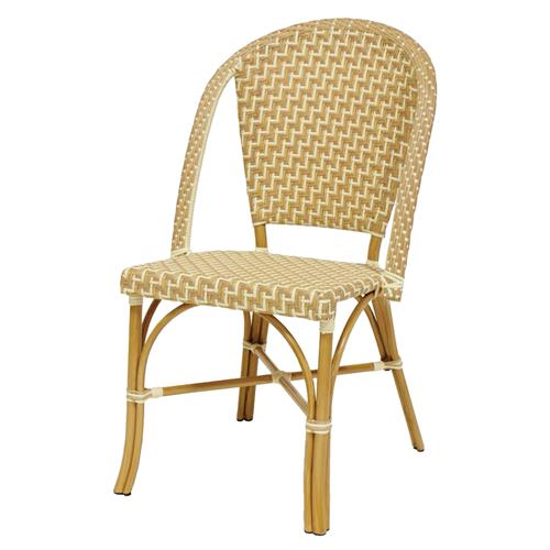Palecek Paris Coastal Beach Natural Sand Metal Natural Bistro Chair | Kathy Kuo Home