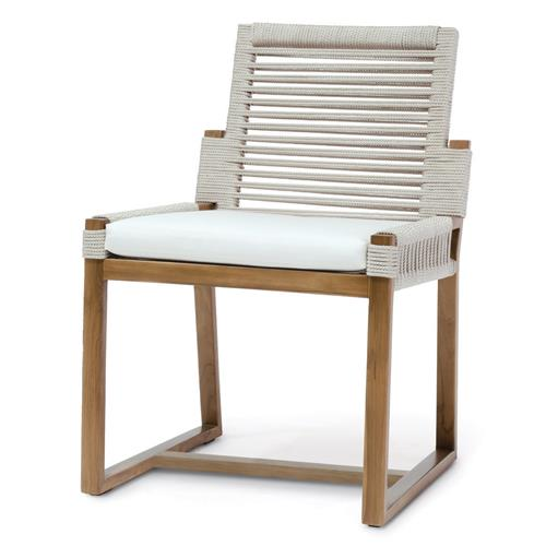 Palecek San Martin Coastal Beach Salt Rope Wrapped Outdoor Side Chair | Kathy Kuo Home