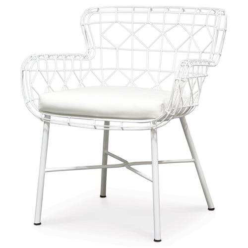 Palecek Capri Modern Classic Salt White Steel Outdoor Arm Chair | Kathy Kuo Home