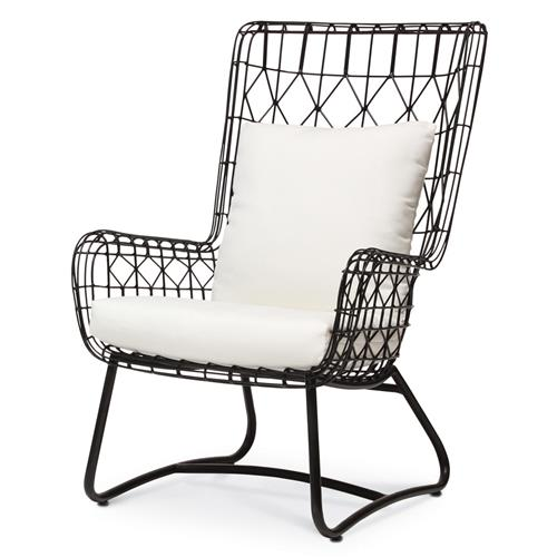 Palecek Capri Modern Classic Salt Black Steel Outdoor Wing Chair | Kathy Kuo Home
