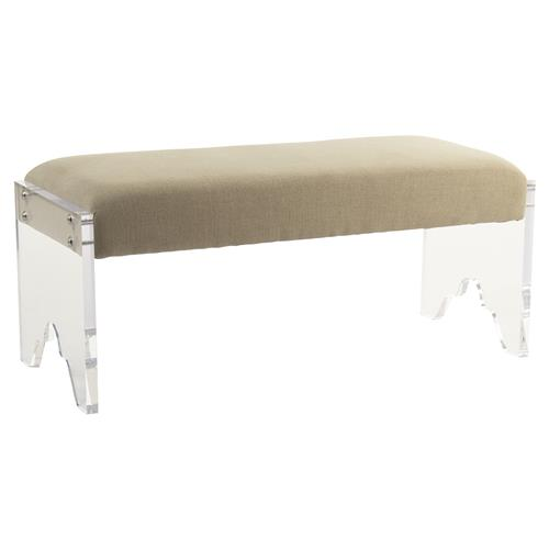 Granby Modern Classic Acrylic Cut Beige Linen Bench | Kathy Kuo Home