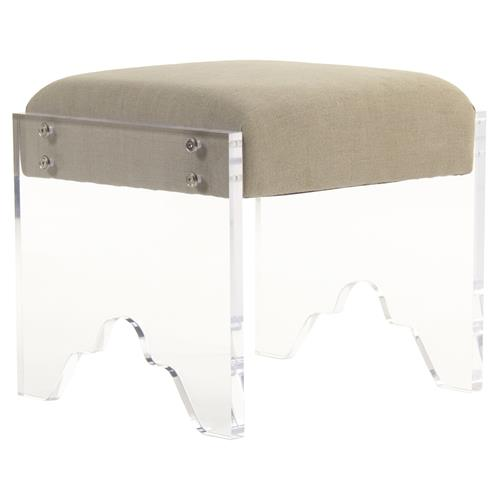 Granby Modern Classic Acrylic Cut Beige Linen Stool | Kathy Kuo Home