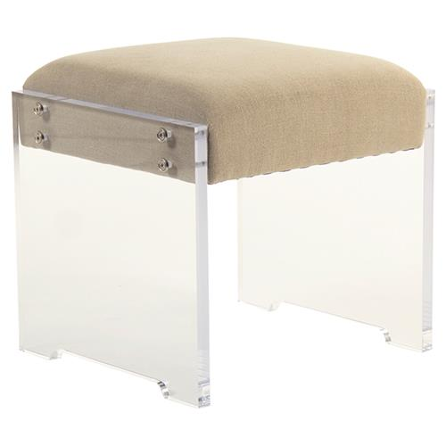 Alvis Modern Classic Notch Beige Linen Stool | Kathy Kuo Home