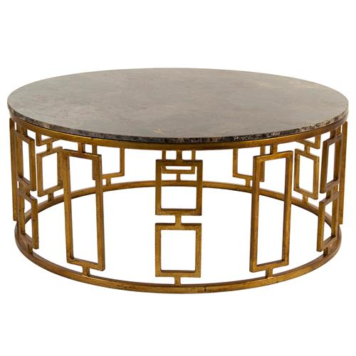 Lazar Global Bazaar Antique Brass Round Stone Coffee Table | Kathy Kuo Home