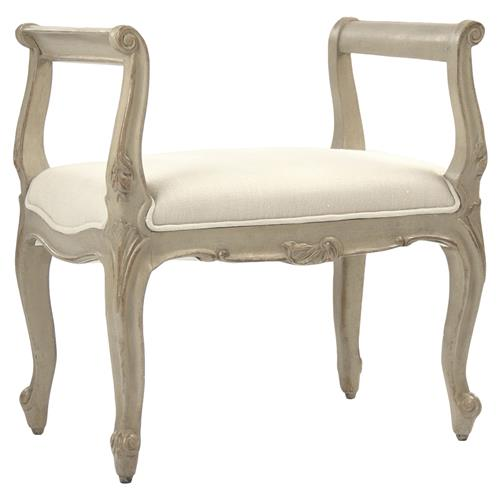 Lacie French Country Beige Curved Scroll Vanity Stool | Kathy Kuo Home