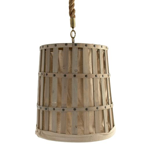 Frasier French Country Provincial Linen Basket Pendant | Kathy Kuo Home