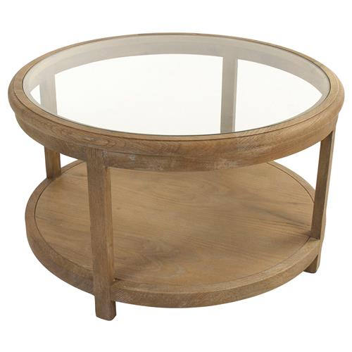 Odil Country French Round Glass Oak Coffee Table | Kathy Kuo Home