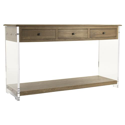 Canaan Modern Classic Oak Acrylic Console Table | Kathy Kuo Home