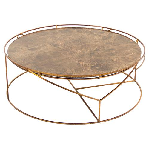 Cicely Global Inset Stone Rustic Gold Coffee Table | Kathy Kuo Home
