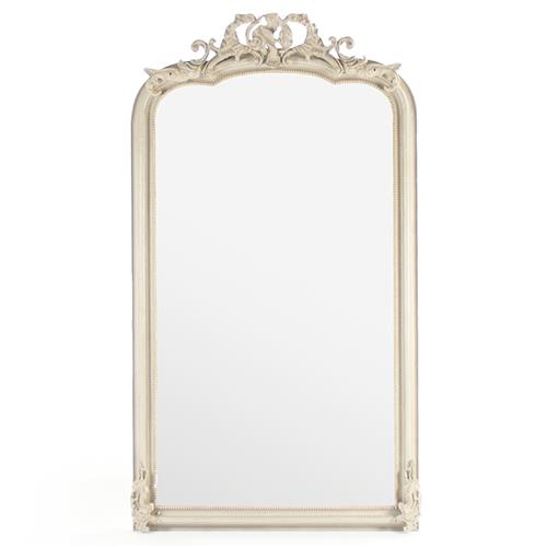 Celine French Country Ornate Antique Ivory Floor Mirror | Kathy Kuo Home