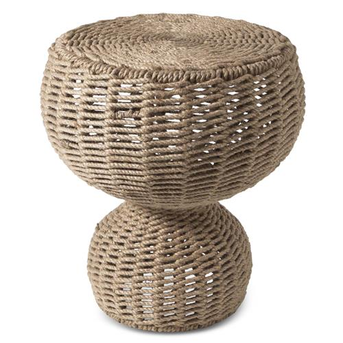 Marieta Coastal Beach Rope Wrapped Stool End Table | Kathy Kuo Home