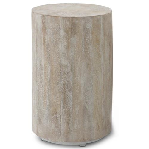Kismet Coastal Beach Mango Driftwood Round End Table | Kathy Kuo Home