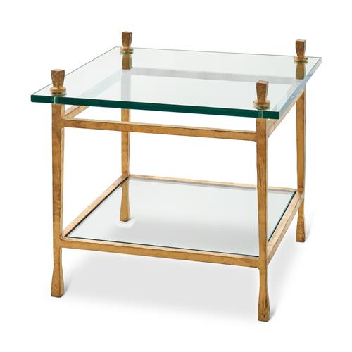 Handler Hollywood Regency Floating Glass Gold Leaf Finish End Table | Kathy Kuo Home