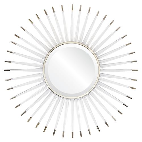 Livvie Hollywood Regency Acrylic Silver Sunburst Wall Mirror | Kathy Kuo Home