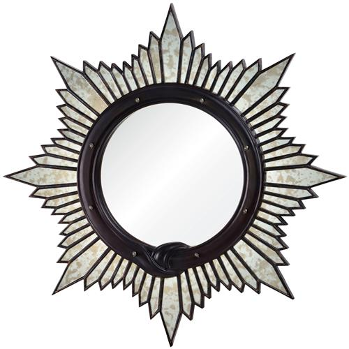 Charlize Global Bazaar Oxblood Sunburst Mirror | Kathy Kuo Home