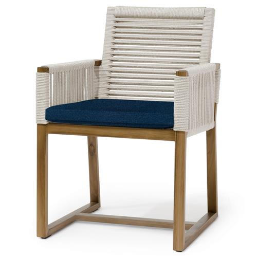 Palecek San Martin Coastal Beach Navy Rope Wrapped Outdoor Arm Chair | Kathy Kuo Home