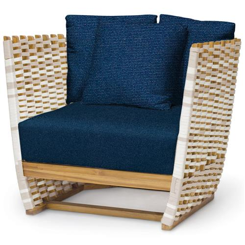Palecek San Martin Modern Classic Navy Rope Wrapped Outdoor Lounge Chair | Kathy Kuo Home