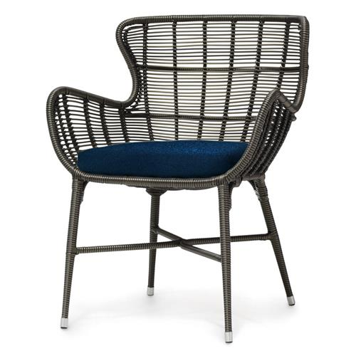 Palecek Palermo Modern Classic Espresso Outdoor Chair - Navy | Kathy Kuo Home