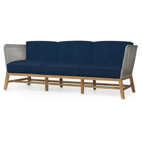 Fabulous Palecek Avila Modern Grey Rope Woven Teak Outdoor Sofa Navy Theyellowbook Wood Chair Design Ideas Theyellowbookinfo