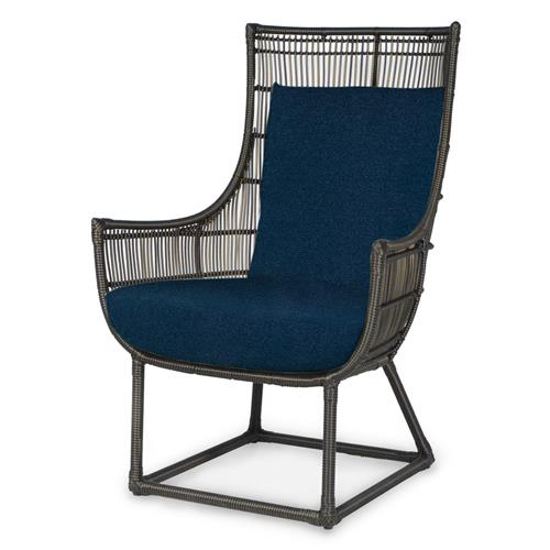 Palecek Verona Modern Classic Faux Wicker Espresso Outdoor Lounge Chair - Navy | Kathy Kuo Home