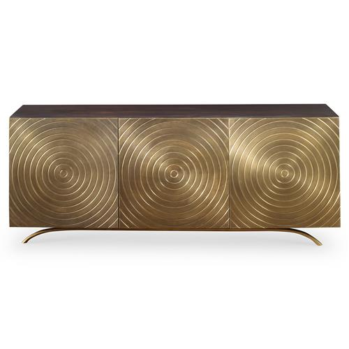 Mr. Brown Claudio Mid Century Regency Gold Vented Media Cabinet | Kathy Kuo Home