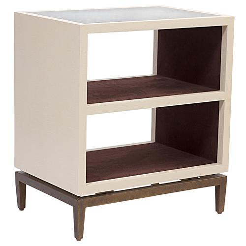 Mr. Brown Declichy Modern Classic Cream Faux Croc Shelf Nightstand | Kathy Kuo Home