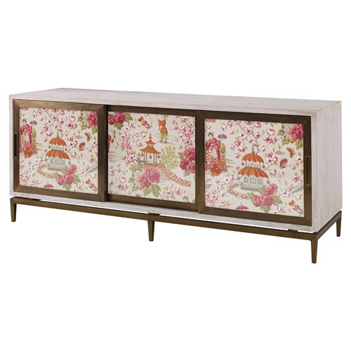 Mr. Brown Muse Modern Classic Rose Chinoiserie White Wash Cabinet | Kathy Kuo Home