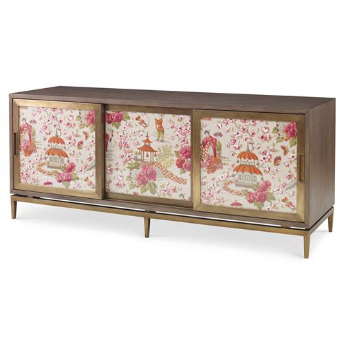 Mr. Brown Muse Modern Classic Rose Chinoiserie Ash Oak Cabinet | Kathy Kuo Home