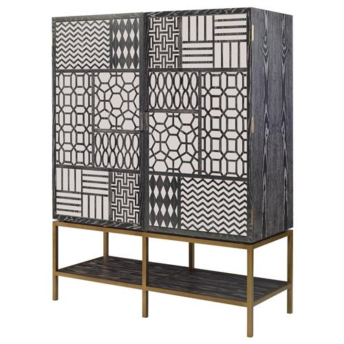 Mr. Brown Tito Low Bazaar Charcoal Ash Mirror Patchwork Tall Cabinet | Kathy Kuo Home