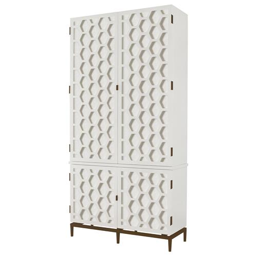 Mr. Brown Wilhelm Modern Classic Hexagon White Antique Wood Tall Wardrobe | Kathy Kuo Home