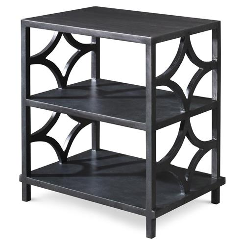 Mr. Brown Wolfgang Modern Classic Antique Graphite Fret 3 Tier Nightstand | Kathy Kuo Home