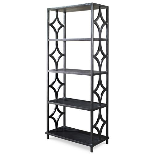 Mr. Brown Wolfgang Modern Classic Antique Graphite Fret Bookcase | Kathy Kuo Home