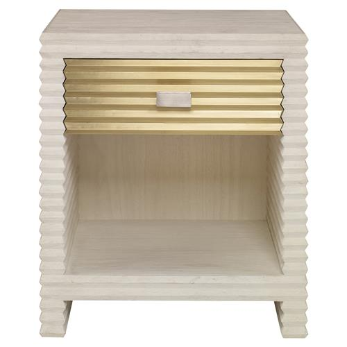 Mr. Brown Belmont Modern Corrugated Ivory Pine Silver Nightstand | Kathy Kuo Home