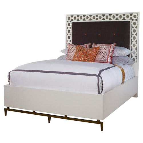 Mr. Brown Wilhelm Modern Classic White Pattern Border Velvet Bed - Queen | Kathy Kuo Home